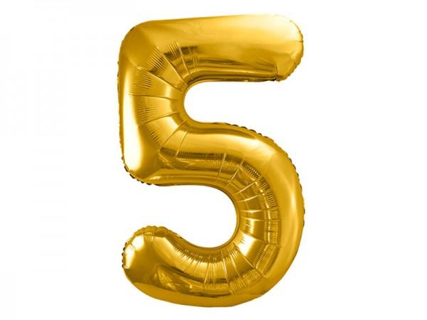 Folienballon Zahl 5 gold 86cm Zahlenballon