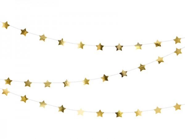 Sterngirlande rosegold Girlande mit goldenen Sternen