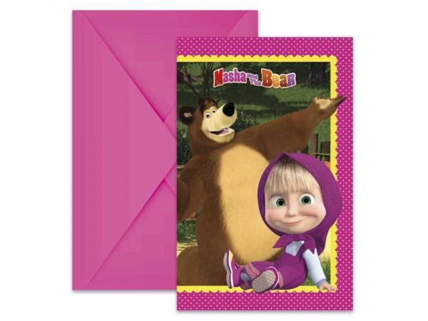 Geburtstagseinladungen Mascha und der Bär Einladungskarten Kindergeburtstag