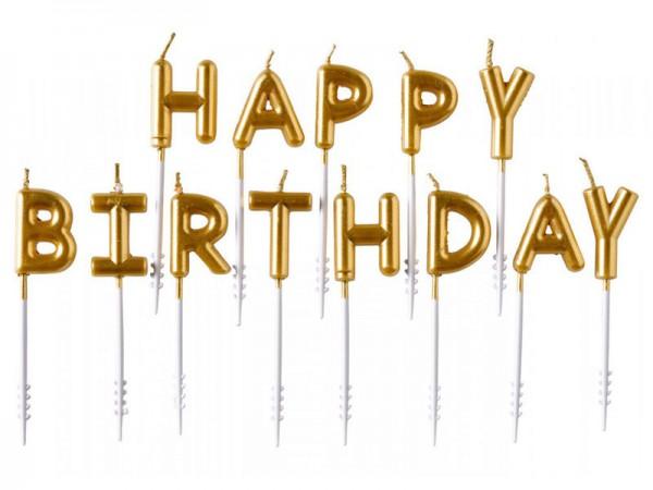 Geburtstagskerzen Happy Birthday Kerzen gold